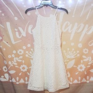 Bleuh Ciel White Lace Spaghetti Strap Mini Dress